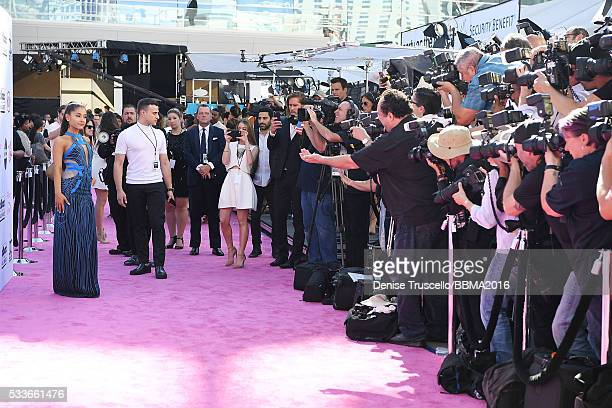 Singer Ariana Grande arrives at the 2016 Billboard Music Awards at the TMobile Arena on May 22 2016 in Las Vegas Nevada