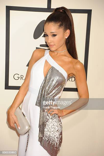 Singer Ariana Grande arrives at The 57th Annual GRAMMY Awards held at the Staples Center