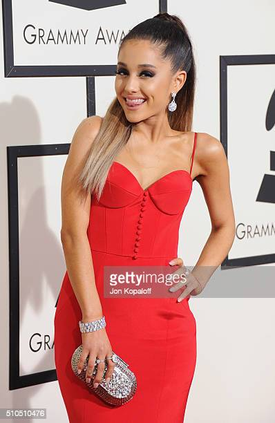 Singer Ariana Grande arrives at The 58th GRAMMY Awards at Staples Center on February 15 2016 in Los Angeles California