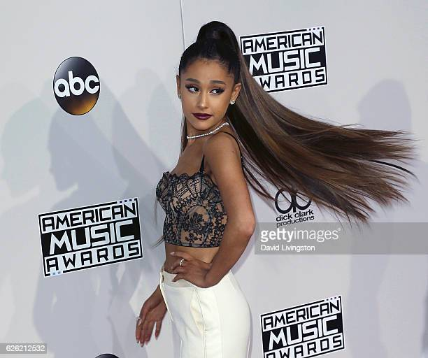 Singer Ariana Grande attends the 2016 American Music Awards at Microsoft Theater on November 20 2016 in Los Angeles California
