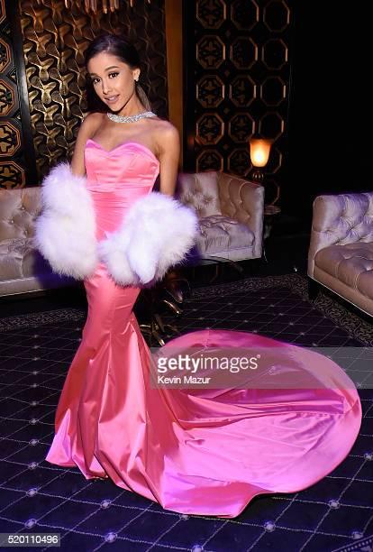 Singer Ariana Grande attends the 2016 MTV Movie Awards at Warner Bros Studios on April 9 2016 in Burbank California MTV Movie Awards airs April 10...