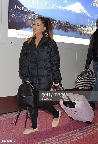 Singer Ariana Grande is seen upon arrival at Haneda Airport on April 11 2016 in Tokyo Japan