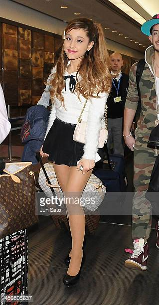 Singer Ariana Grande is seen upon arrival at Narita International Airport on December 31 2013 in Narita Japan