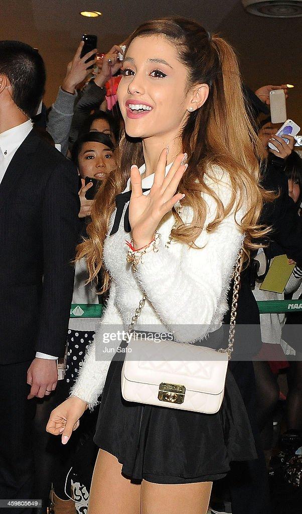 Singer Ariana Grande is seen upon arrival at Narita International Airport on December 31, 2013 in Narita, Japan.