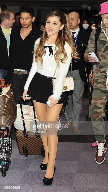 Singer Ariana Grande is seen upon arrival at Narita International Airport on December 31 2013 in Narita Japan