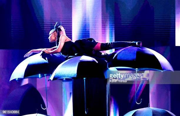 Singer Ariana Grande performs at the 2018 Billboard Music Awards at the MGM Grand Garden Arena on May 20 2018 in Las Vegas Nevada