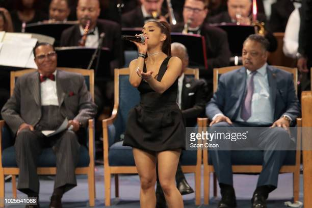 Singer Ariana Grande performs at the funeral for Aretha Franklin at the Greater Grace Temple on August 31 2018 in Detroit Michigan Franklin died at...