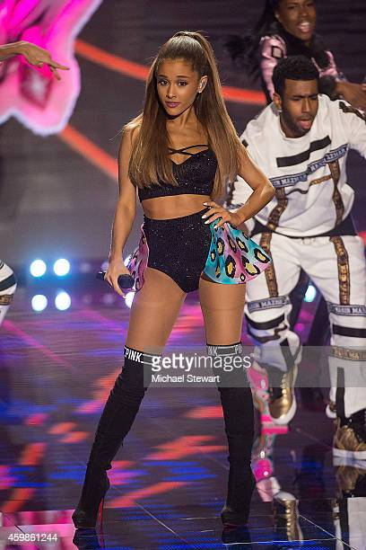Singer Ariana Grande performs during the annual Victoria's Secret fashion show at Earls Court on December 2 2014 in London England