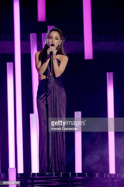 Singer Ariana Grande performs 'Just a Little Bit of Your Heart' onstage during The 57th Annual GRAMMY Awards at the at the STAPLES Center on February...