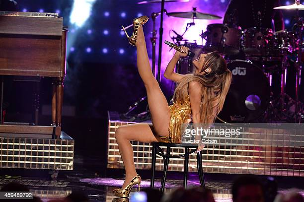 Singer Ariana Grande performs onstage at the 2014 American Music Awards at Nokia Theatre LA Live on November 23 2014 in Los Angeles California