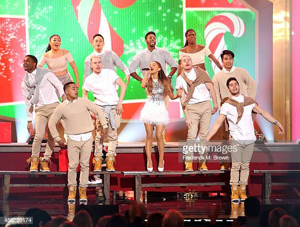 Singer Ariana Grande performs onstage during A VERY GRAMMY CHRISTMAS at The Shrine Auditorium on November 18 2014 in Los Angeles California