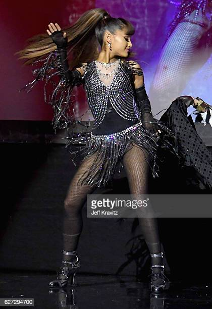 Singer Ariana Grande performs onstage during Madonna presents An Evening of Music Art Mischief and Performance to benefit Raising Malawi at Faena...