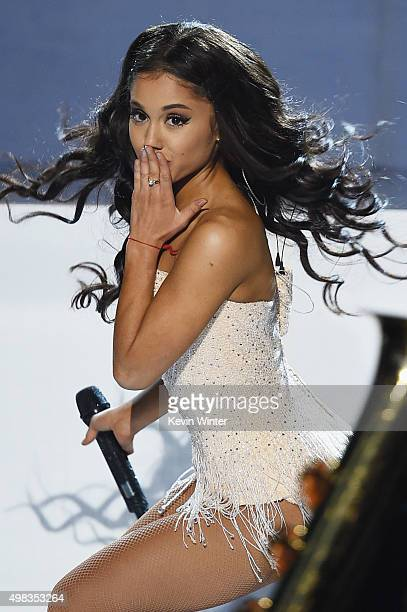 Singer Ariana Grande performs onstage during the 2015 American Music Awards at Microsoft Theater on November 22 2015 in Los Angeles California