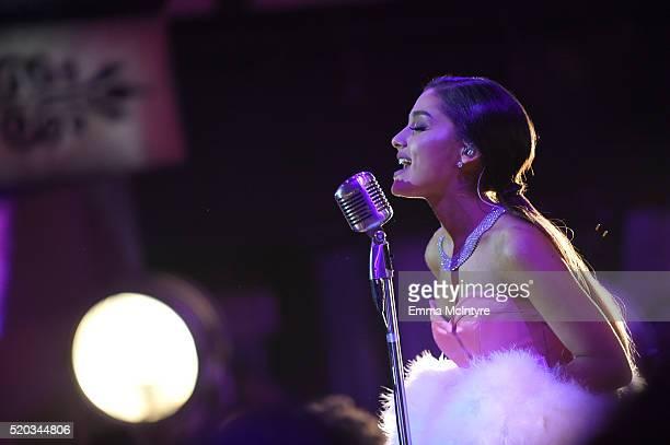 Singer Ariana Grande performs onstage during the 2016 MTV Movie Awards at Warner Bros Studios on April 9 2016 in Burbank California MTV Movie Awards...
