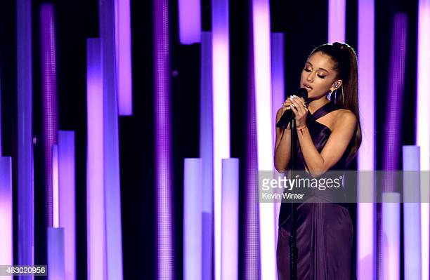 Singer Ariana Grande performs onstage during The 57th Annual GRAMMY Awards at the STAPLES Center on February 8 2015 in Los Angeles California