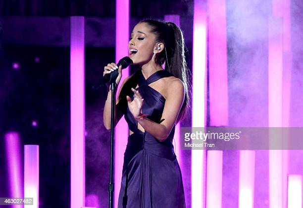 Singer Ariana Grande performs onstage during The 57th Annual GRAMMY Awards at STAPLES Center on February 8 2015 in Los Angeles California