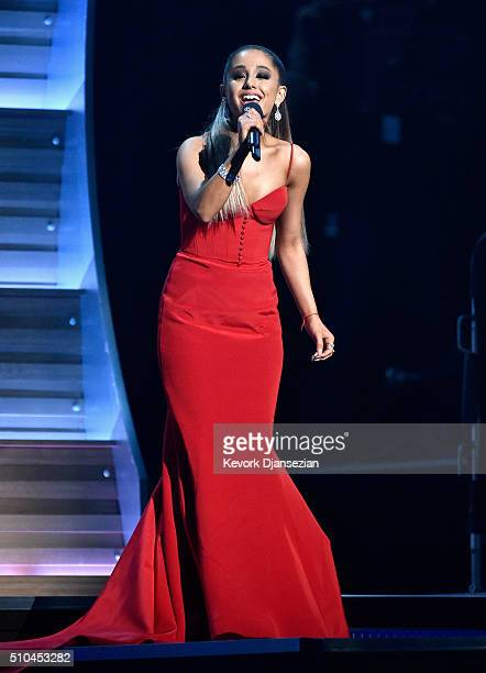 Singer Ariana Grande speaks onstage during The 58th GRAMMY Awards at Staples Center on February 15 2016 in Los Angeles California