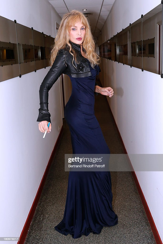 Singer Arielle Dombasle attends 'Vivement Dimanche' French TV Show at Pavillon Gabriel on September 18, 2013 in Paris, France.