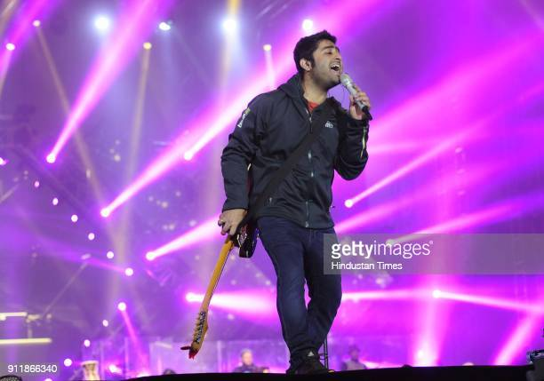 Singer Arijit Singh performs during a concert at Exhibition Ground Sector 34 on January 28 2018 in Chandigarh India