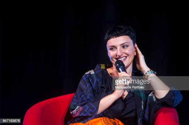 Singer Arisa at Teatro Augusteo being interviewed during the event Panorama d'Italia Salerno Italy 9th September 2016