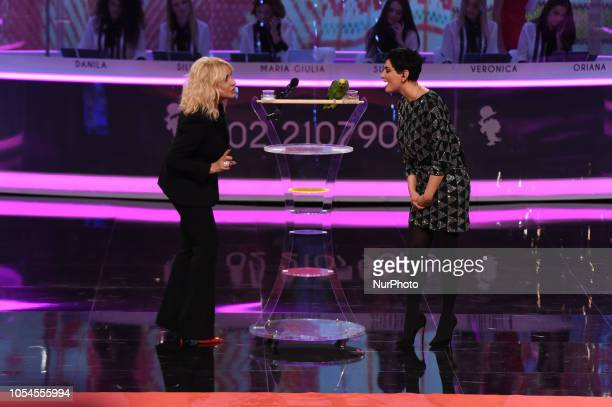 Singer Arisa guest and Antonella Clerici attends the first evening of Portobello broadcast on Rai Uno after 31 years from its broadcast
