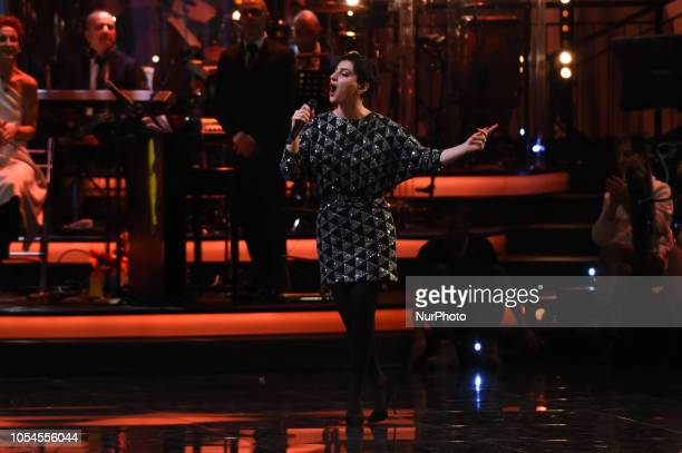Singer Arisa guest attend the first evening of Portobello broadcast on Rai Uno after 31 years from its broadcast