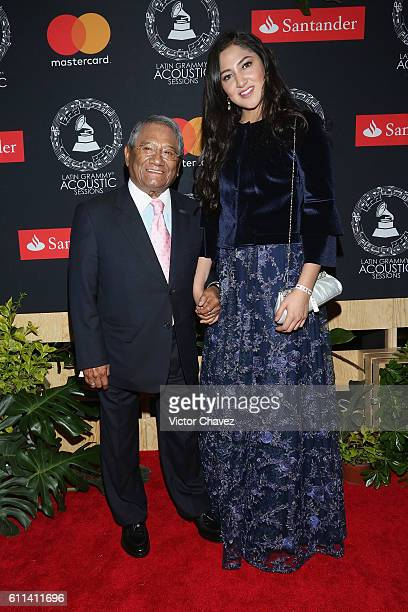 Singer Armando Manzanero and Mauren attend the Latin Grammy Acoustic Sessions Mexico City 2016 at Casa Del Lago Chapultepec on September 28 2016 in...
