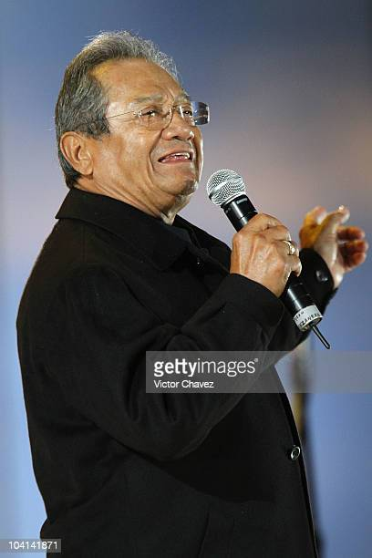 Singer Armando Manzanero performs during the celebrations of the Independence of Mexico Bicentennial at Zocalo on September 15 2010 in Mexico City...