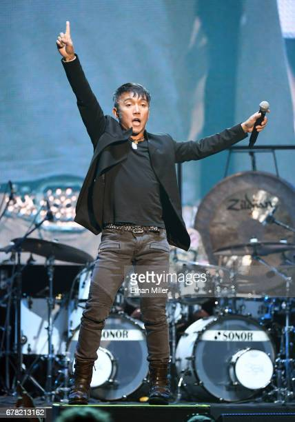 Singer Arnel Pineda of Journey performs during the first night of the band's second nineshow residency at The Joint inside the Hard Rock Hotel Casino...