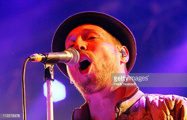 Singer Arnim Teutoburg-Weiss of Beatsteaks performs live during a concert at the Huxleys on April 16, 2011 in Berlin, Germany.