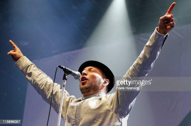Singer Arnim Teutoburg-Weiss of the german band Beatsteaks performs live during a concert at the Kindl-Buehne Wuhlheide on June 11, 2011 in Berlin,...