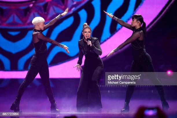 Singer Artsvik representing Armenia performs the song 'Fly With Me' during the final of the 62nd Eurovision Song Contest at International Exhibition...