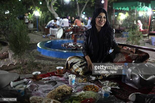 Singer Aryana Sayeed in a restaurant on August 17 2013 in Kabul Afghanistan The Afghan singer Aryana Sayeed attends a concert of young Afghans...