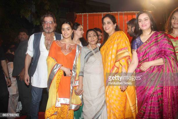 Singer Asha Bhosale Rashmi Thackeray actors Padmini Kolhapure Shraddha Kapoor and Shakti Kapoor during the opening of Pandit Pandharinath Kolhapure...