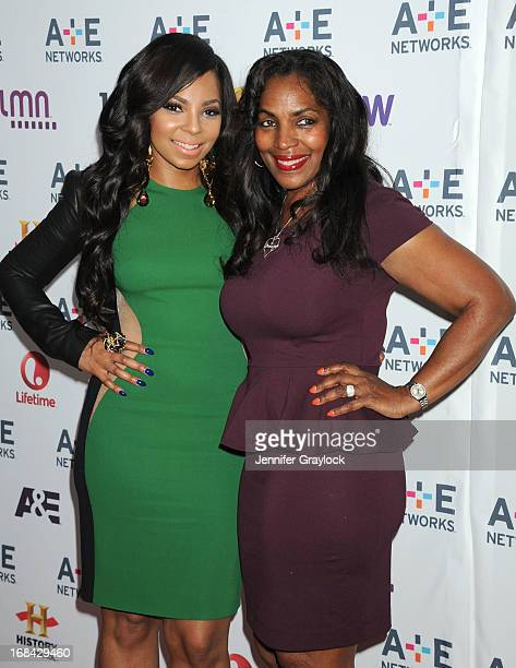 Singer Ashanti and mother Tina Douglas attend the AE Networks 2013 Upfront at Lincoln Center on May 8 2013 in New York City