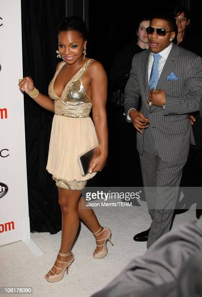 Singer Ashanti and Nelly arrives at Entertainment Weekly's toast to Antonio 'LA' Reid at STKLA on February 10 2008 in West Hollywood California