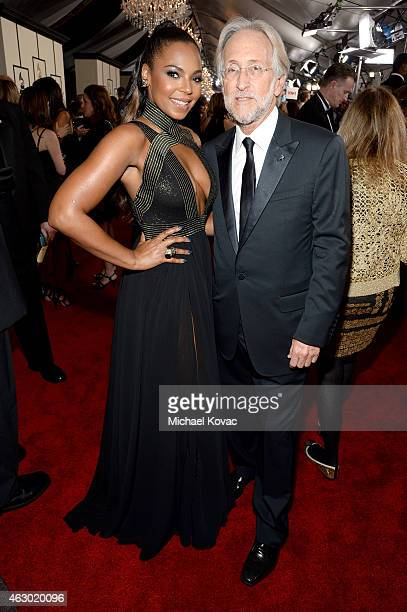 Singer Ashanti and President of the National Academy of Recording Arts and Sciences Neil Portnow attend The 57th Annual GRAMMY Awards at the STAPLES...
