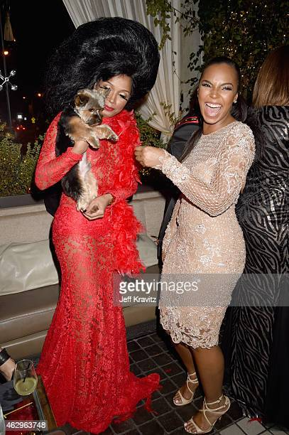 Singer Ashanti and Shani James attend the Primary Wave 9th Annual PreGrammy Party at RivaBella on February 7 2015 in West Hollywood California