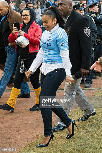 Singer Ashanti attends the New England Revolution Vs The New York City Football Club Match at Yankee Stadium on March 15 2015 in New York City