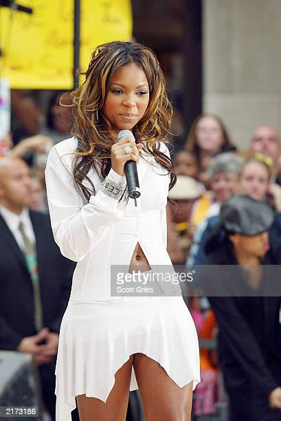 Singer Ashanti performs as part of the Toyota Concert Series on the NBC Today Show outside the NBC Studios July 18 2003 in New York City