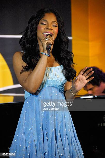 Singer Ashanti performs at a check presentation to the Century 21 Path to Your Dreams Sweepstakes Winners at Grand Central Terminal on June 22 2009...