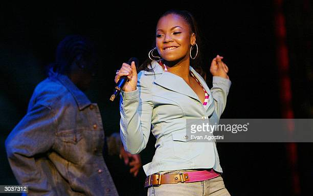 Singer Ashanti performs at Fuse and Hot 97's Full Frontal HipHop fashion showcase at Webster Hall March 2 2004 in New York City