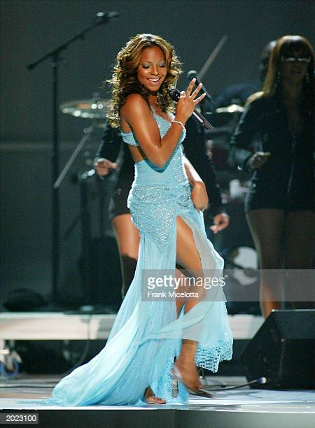 Singer Ashanti performs at the VH1 Divas Duets a concert to benefit the VH1 Save the Music Foundation held at the MGM Grand Garden Arena on May 22nd...