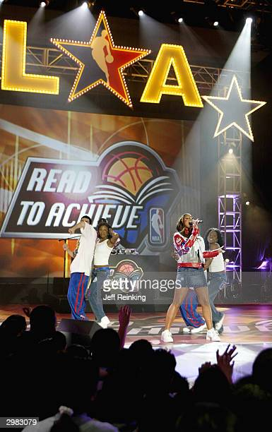 Singer Ashanti performs during the 2004 NBA AllStar Read to Achieve Celebration at the Los Angeles Convention Center part of the 53rd NBA AllStar...