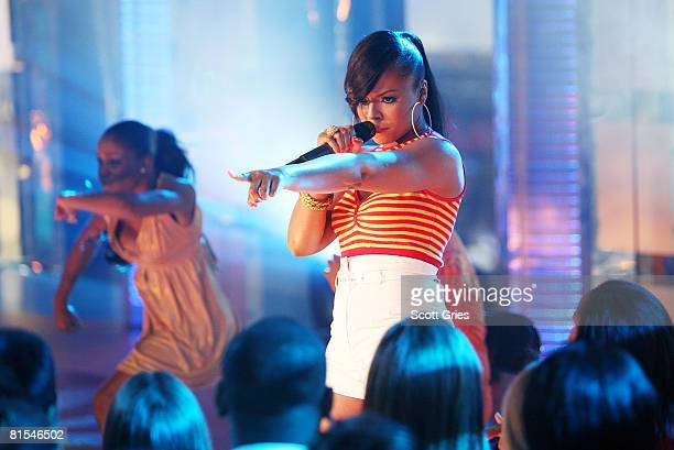 Singer Ashanti performs onstage during MTV's Total Request Live at the MTV Times Square Studios June 9 2008 in New York City