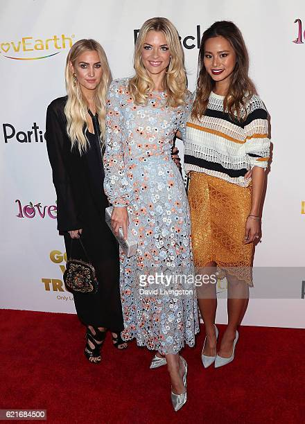 Singer Ashlee Simpson and actresses Jaime King and Jamie Chung attend the premiere of God vs Trump at TCL Chinese Theatre on November 7 2016 in...