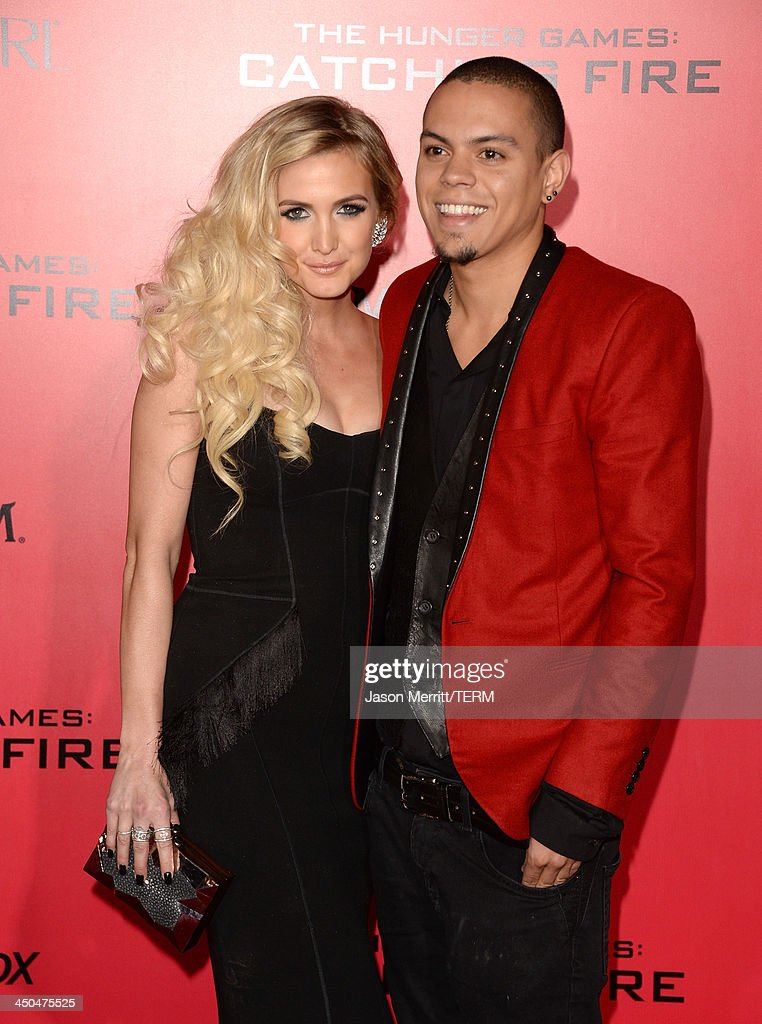 Singer Ashlee Simpson (L) and Evan Ross arrive at the premiere of Lionsgate's 'The Hunger Games: Catching Fire' at Nokia Theatre L.A. Live on November 18, 2013 in Los Angeles, California.