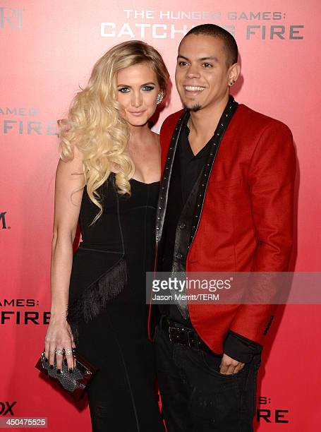 Singer Ashlee Simpson and Evan Ross arrive at the premiere of Lionsgate's The Hunger Games Catching Fire at Nokia Theatre LA Live on November 18 2013...