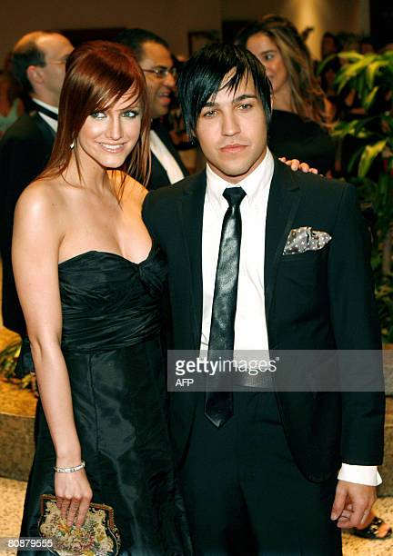 Singer Ashlee Simpson and her fiance Fall Out Boy bass player Pete Wentz arrive at the White House Correspondents' Association dinner on April 26...
