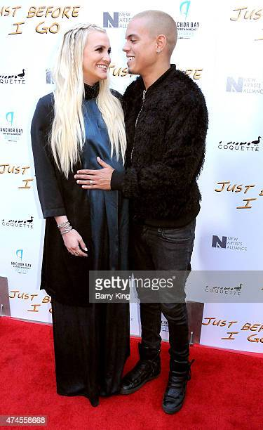Singer Ashlee Simpson and husband actor Evan Ross arrive at the Los Angeles Special Screening of 'Just Before I Go' at ArcLight Hollywood on April 20...